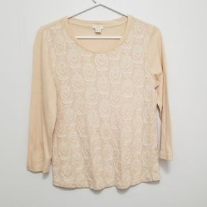 J. CREW Floral Detail 3/4 Sleeve Cotton Top